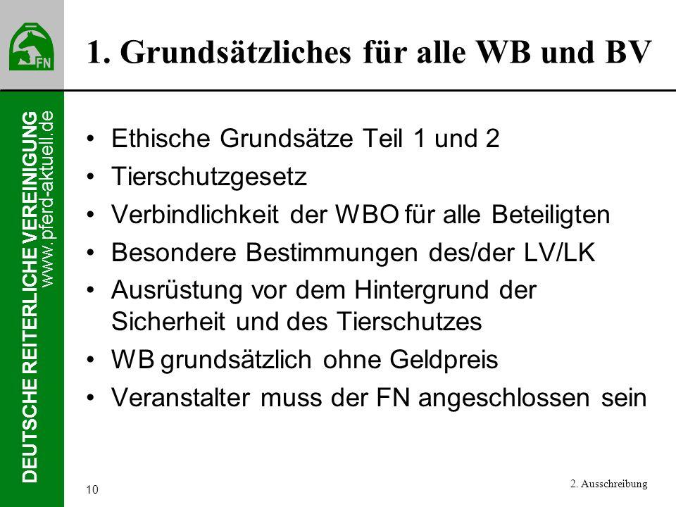 www.pferd-aktuell.de DEUTSCHE REITERLICHE VEREINIGUNG 10 1. Grundsätzliches für alle WB und BV Ethische Grundsätze Teil 1 und 2 Tierschutzgesetz Verbi