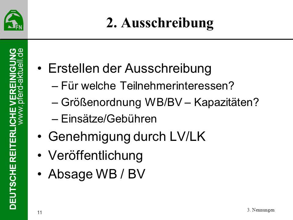 www.pferd-aktuell.de DEUTSCHE REITERLICHE VEREINIGUNG 11 2. Ausschreibung Erstellen der Ausschreibung –Für welche Teilnehmerinteressen? –Größenordnung