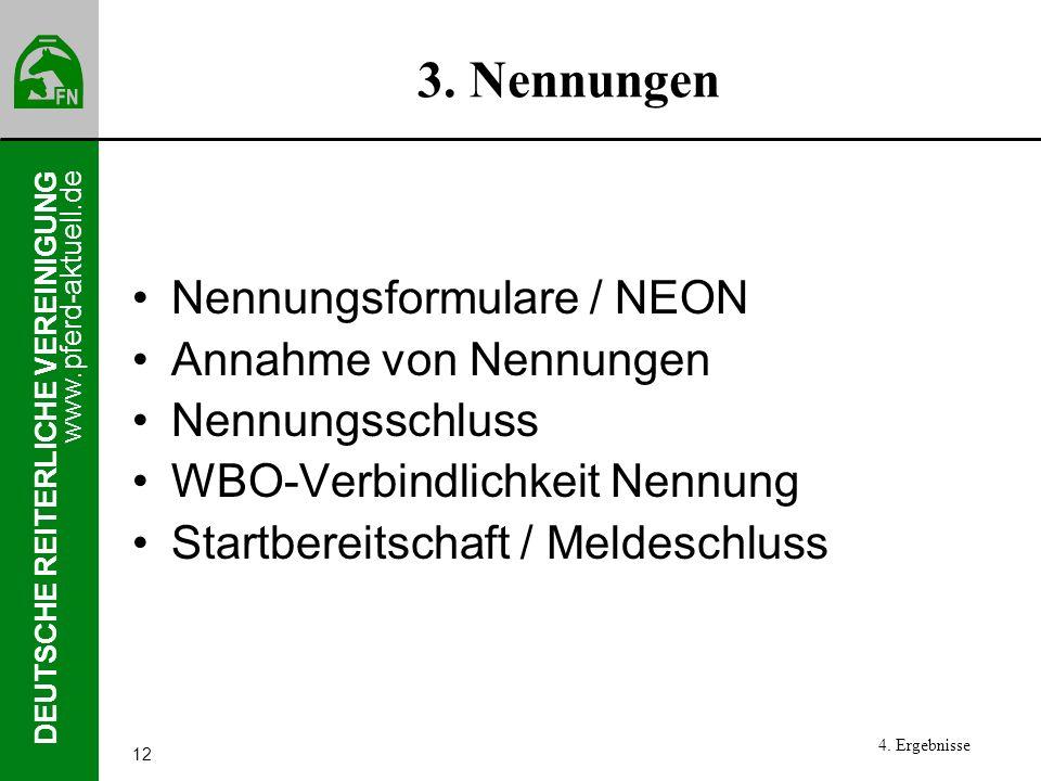 www.pferd-aktuell.de DEUTSCHE REITERLICHE VEREINIGUNG 12 3. Nennungen Nennungsformulare / NEON Annahme von Nennungen Nennungsschluss WBO-Verbindlichke