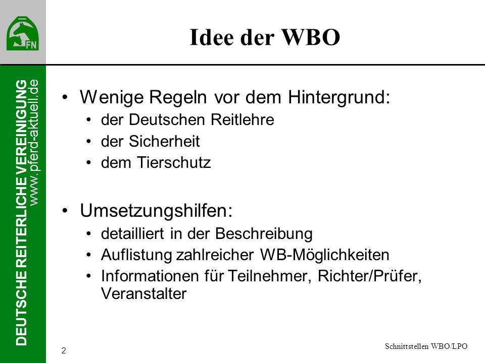 www.pferd-aktuell.de DEUTSCHE REITERLICHE VEREINIGUNG 2 Idee der WBO Wenige Regeln vor dem Hintergrund: der Deutschen Reitlehre der Sicherheit dem Tie