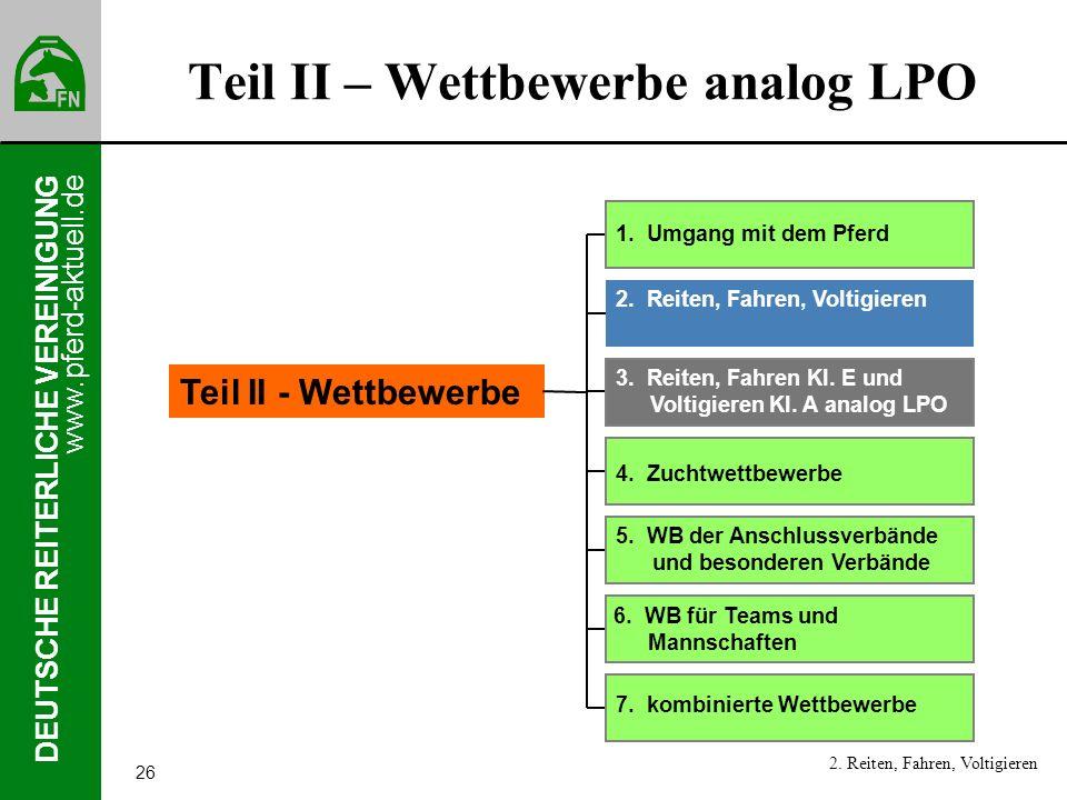 www.pferd-aktuell.de DEUTSCHE REITERLICHE VEREINIGUNG 26 Teil II – Wettbewerbe analog LPO 2. Reiten, Fahren, Voltigieren 1. Umgang mit dem Pferd 2. Re
