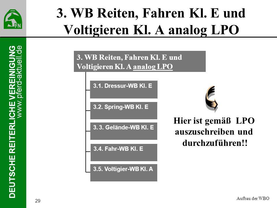 www.pferd-aktuell.de DEUTSCHE REITERLICHE VEREINIGUNG 29 3. WB Reiten, Fahren Kl. E und Voltigieren Kl. A analog LPO 3.1. Dressur-WB Kl. E 3.2. Spring