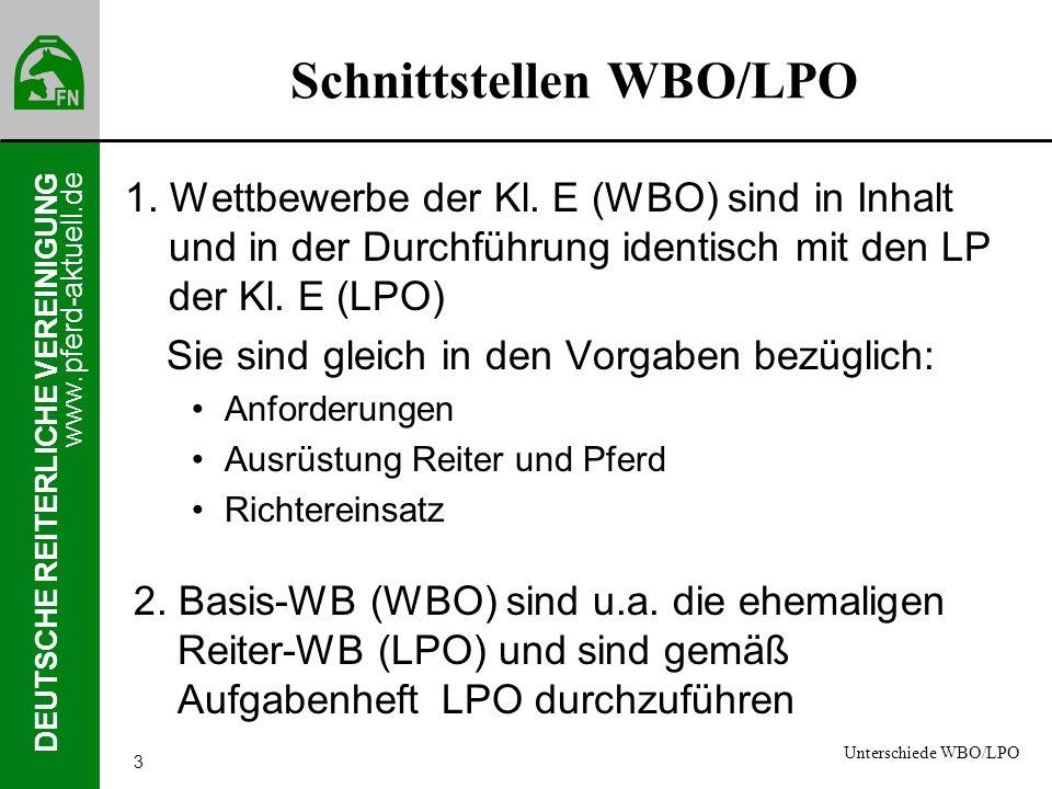 www.pferd-aktuell.de DEUTSCHE REITERLICHE VEREINIGUNG 3 Schnittstellen WBO/LPO 1. Wettbewerbe der Kl. E (WBO) sind in Inhalt und in der Durchführung i