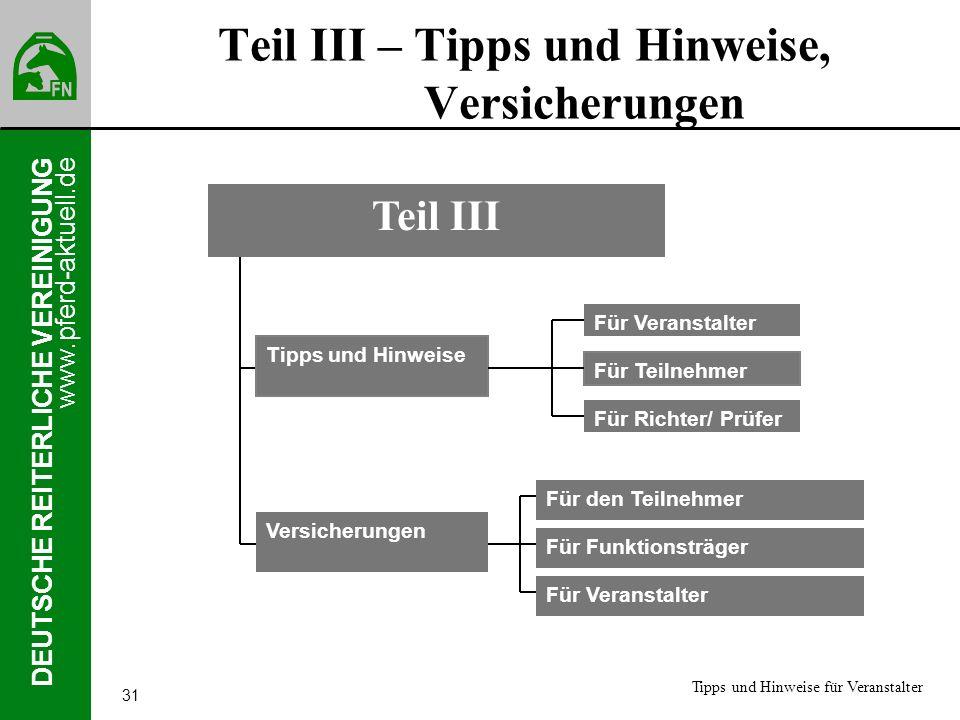 www.pferd-aktuell.de DEUTSCHE REITERLICHE VEREINIGUNG 31 Teil III – Tipps und Hinweise, Versicherungen Tipps und Hinweise Versicherungen Teil III Für