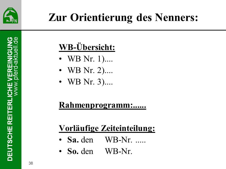 www.pferd-aktuell.de DEUTSCHE REITERLICHE VEREINIGUNG 38 Zur Orientierung des Nenners: WB-Übersicht: WB Nr. 1).... WB Nr. 2).... WB Nr. 3).... Rahmenp
