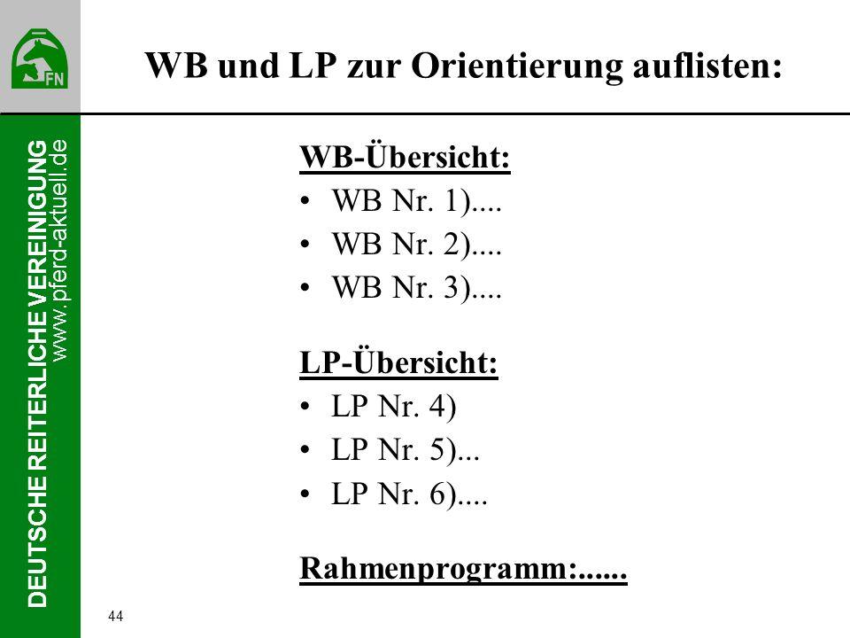www.pferd-aktuell.de DEUTSCHE REITERLICHE VEREINIGUNG 44 WB und LP zur Orientierung auflisten: WB-Übersicht: WB Nr. 1).... WB Nr. 2).... WB Nr. 3)....