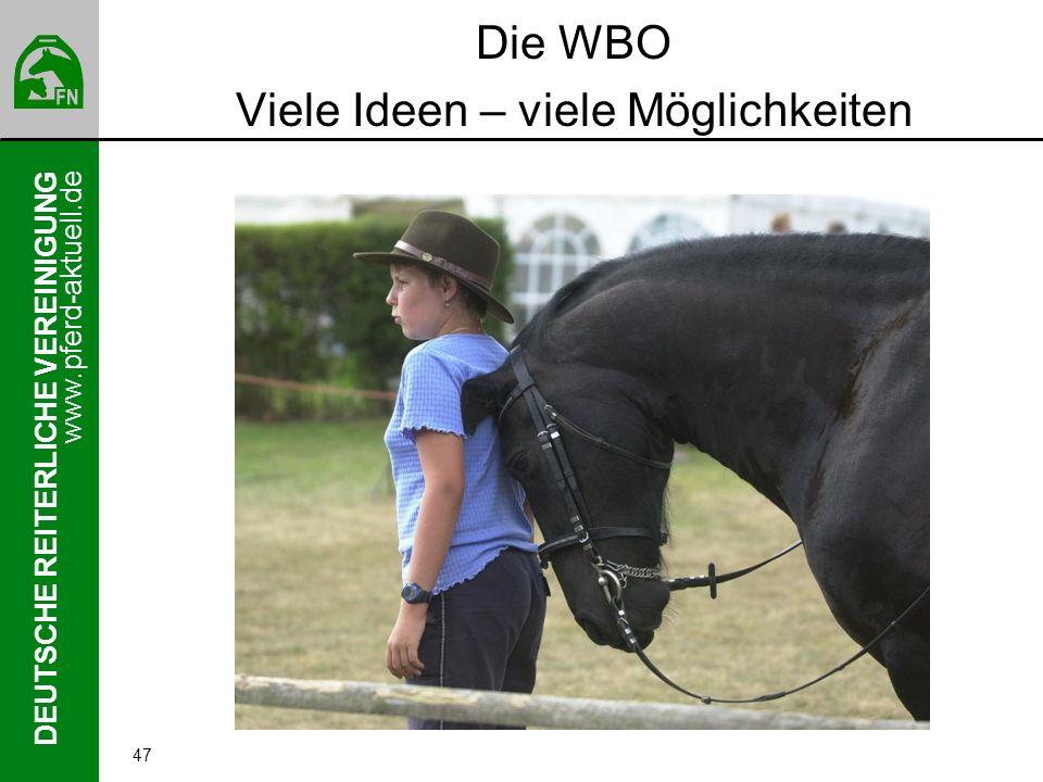 www.pferd-aktuell.de DEUTSCHE REITERLICHE VEREINIGUNG 47 Die WBO Viele Ideen – viele Möglichkeiten