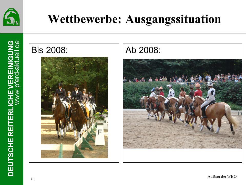 www.pferd-aktuell.de DEUTSCHE REITERLICHE VEREINIGUNG 5 Wettbewerbe: Ausgangssituation Bis 2008:Ab 2008: Aufbau der WBO