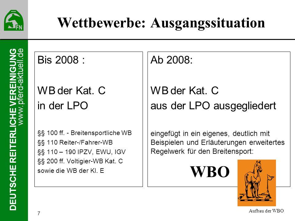 www.pferd-aktuell.de DEUTSCHE REITERLICHE VEREINIGUNG 7 Wettbewerbe: Ausgangssituation Bis 2008 : WB der Kat. C in der LPO §§ 100 ff. - Breitensportli