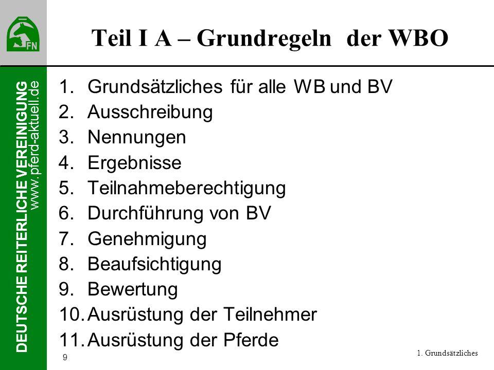 www.pferd-aktuell.de DEUTSCHE REITERLICHE VEREINIGUNG 9 Teil I A – Grundregeln der WBO 1.Grundsätzliches für alle WB und BV 2.Ausschreibung 3.Nennunge