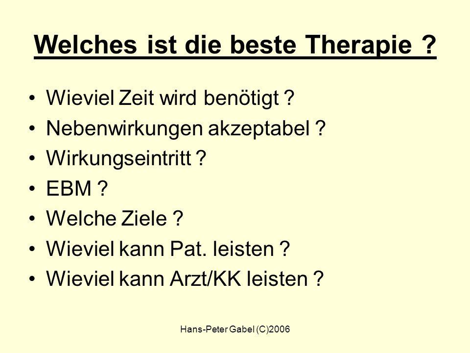 Hans-Peter Gabel (C)2006 Entscheidungsprozess Entscheidung Patient Werte Einstellungen Individuelle Faktoren Medizinische Evidenz Leitlinien Arzt Wert