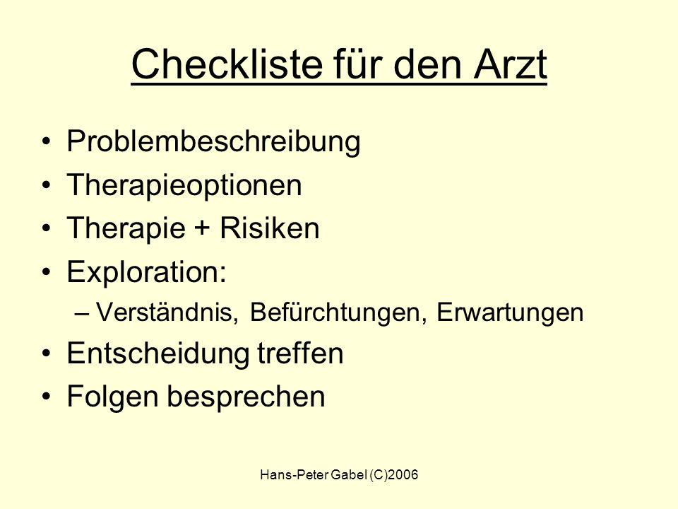 Hans-Peter Gabel (C)2006 Welches ist die beste Therapie ? Wieviel Zeit wird benötigt ? Nebenwirkungen akzeptabel ? Wirkungseintritt ? EBM ? Welche Zie