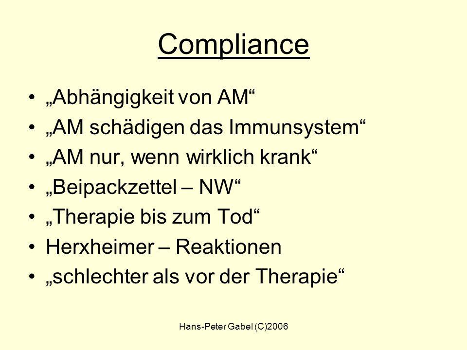 Hans-Peter Gabel (C)2006 Therapie - Notes Mangelnder Therapieerfolg ? Stoffwechselstörungen ? Maligne Erkrankungen ? Co- Infektionen ? Differentialdia