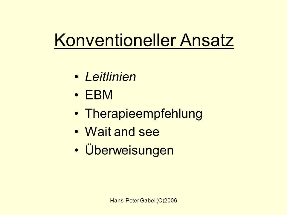 Hans-Peter Gabel (C)2006 Therapie-Optionen Konventionell Leitlinien Therapieempfehlung Wait and see Überweisungen Empirisch Studienlage Jahrelange Ver