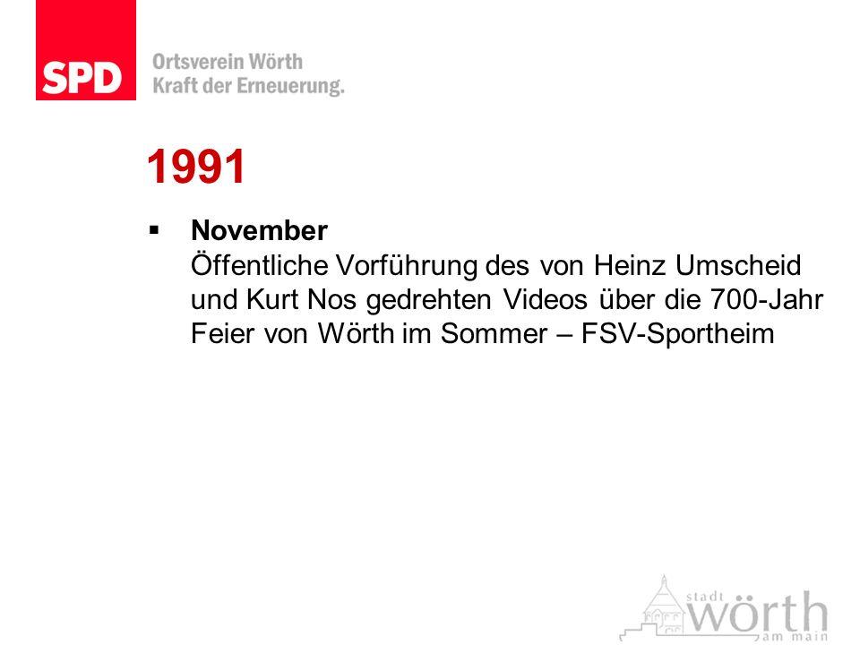 1991 November Öffentliche Vorführung des von Heinz Umscheid und Kurt Nos gedrehten Videos über die 700-Jahr Feier von Wörth im Sommer – FSV-Sportheim