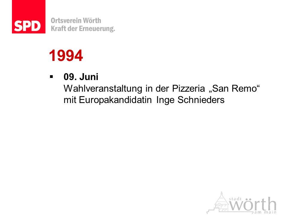 1994 09. Juni Wahlveranstaltung in der Pizzeria San Remo mit Europakandidatin Inge Schnieders