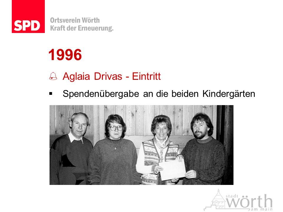 1996 Aglaia Drivas - Eintritt Spendenübergabe an die beiden Kindergärten