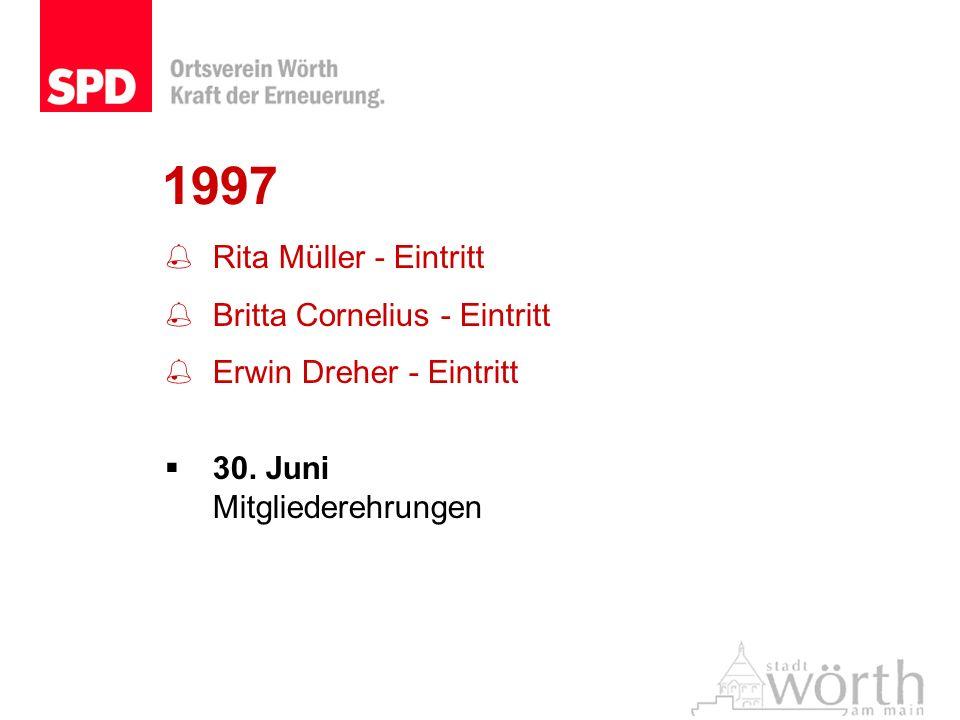 1997 Rita Müller - Eintritt Britta Cornelius - Eintritt Erwin Dreher - Eintritt 30. Juni Mitgliederehrungen