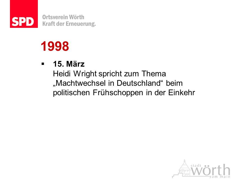 1998 15. März Heidi Wright spricht zum Thema Machtwechsel in Deutschland beim politischen Frühschoppen in der Einkehr
