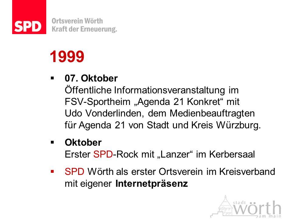 1999 07. Oktober Öffentliche Informationsveranstaltung im FSV-Sportheim Agenda 21 Konkret mit Udo Vonderlinden, dem Medienbeauftragten für Agenda 21 v