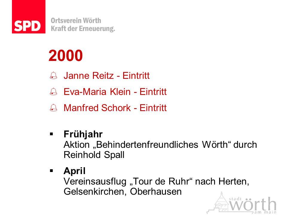 2000 Janne Reitz - Eintritt Eva-Maria Klein - Eintritt Manfred Schork - Eintritt Frühjahr Aktion Behindertenfreundliches Wörth durch Reinhold Spall Ap