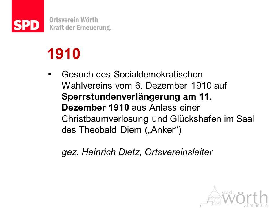 1910 Gesuch des Socialdemokratischen Wahlvereins vom 6. Dezember 1910 auf Sperrstundenverlängerung am 11. Dezember 1910 aus Anlass einer Christbaumver