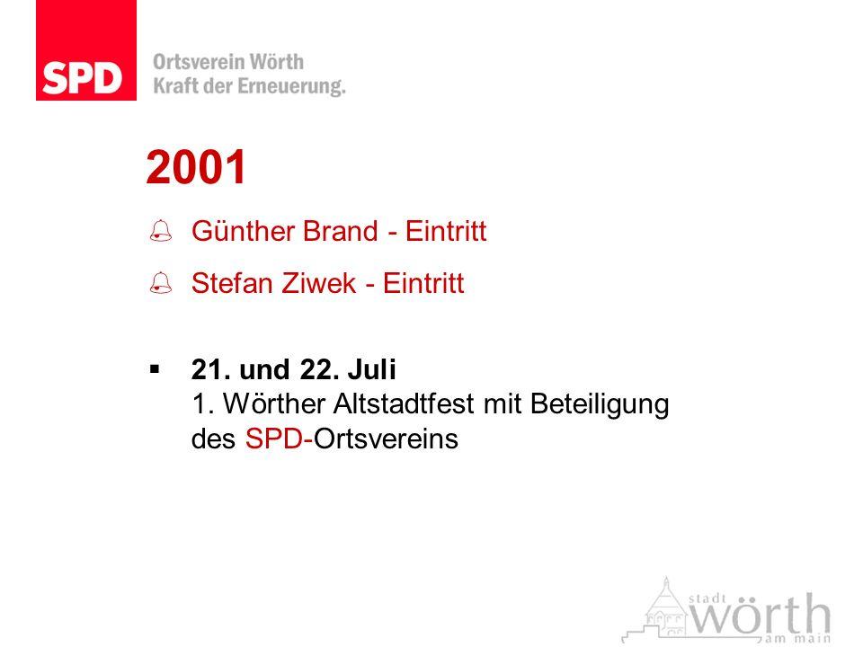 2001 Günther Brand - Eintritt Stefan Ziwek - Eintritt 21. und 22. Juli 1. Wörther Altstadtfest mit Beteiligung des SPD-Ortsvereins