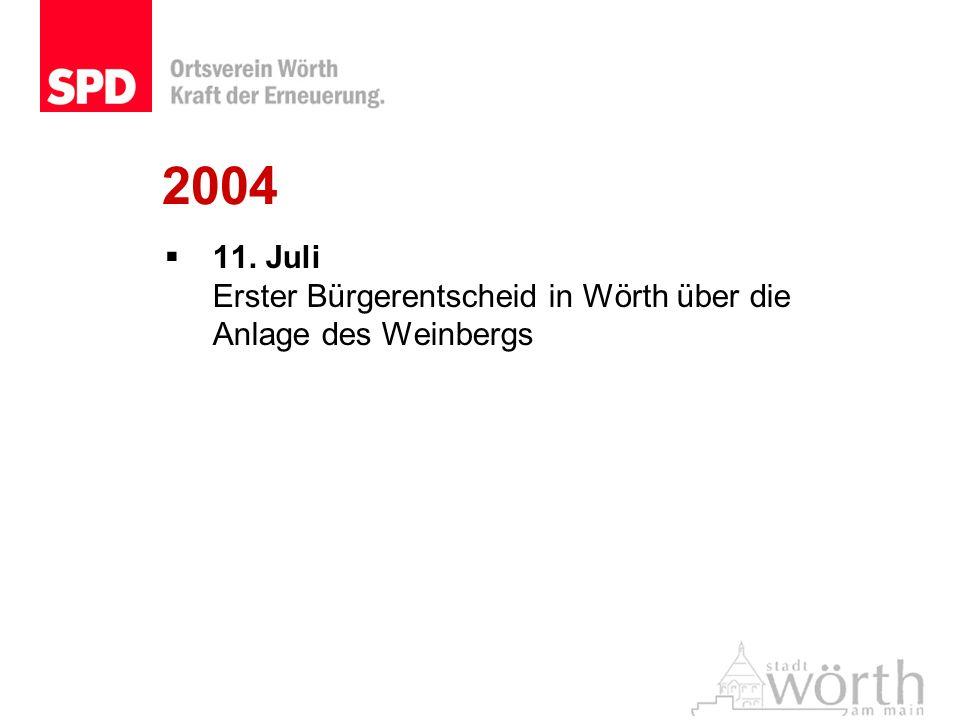 2004 11. Juli Erster Bürgerentscheid in Wörth über die Anlage des Weinbergs