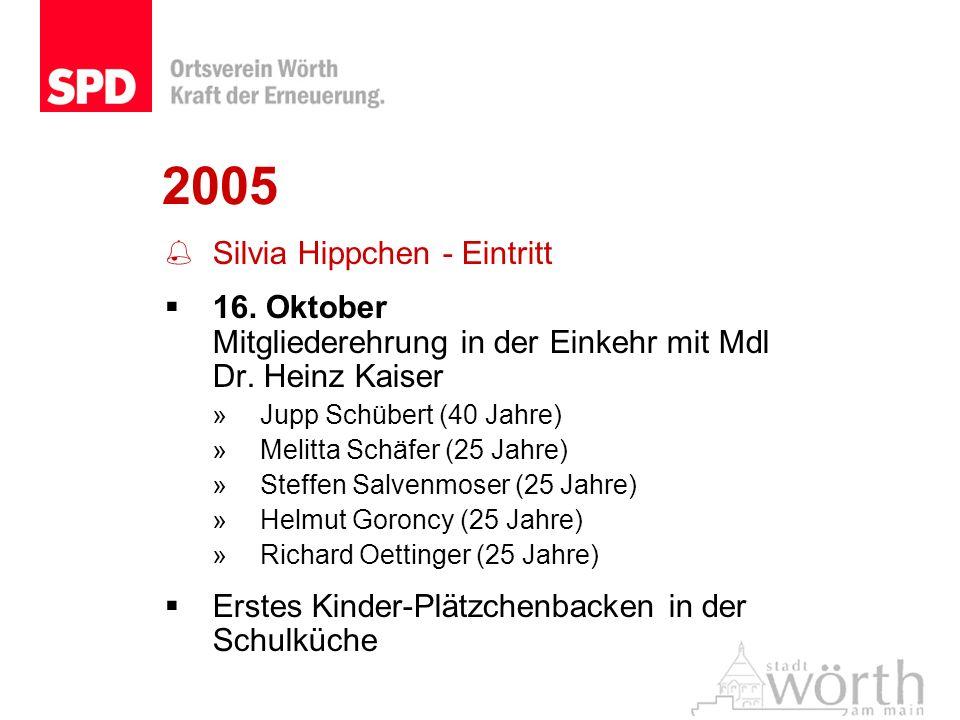 2005 Silvia Hippchen - Eintritt 16. Oktober Mitgliederehrung in der Einkehr mit Mdl Dr. Heinz Kaiser »Jupp Schübert (40 Jahre) »Melitta Schäfer (25 Ja
