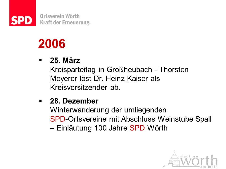2006 25. März Kreisparteitag in Großheubach - Thorsten Meyerer löst Dr. Heinz Kaiser als Kreisvorsitzender ab. 28. Dezember Winterwanderung der umlieg