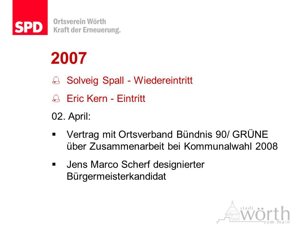 2007 Solveig Spall - Wiedereintritt Eric Kern - Eintritt 02. April: Vertrag mit Ortsverband Bündnis 90/ GRÜNE über Zusammenarbeit bei Kommunalwahl 200