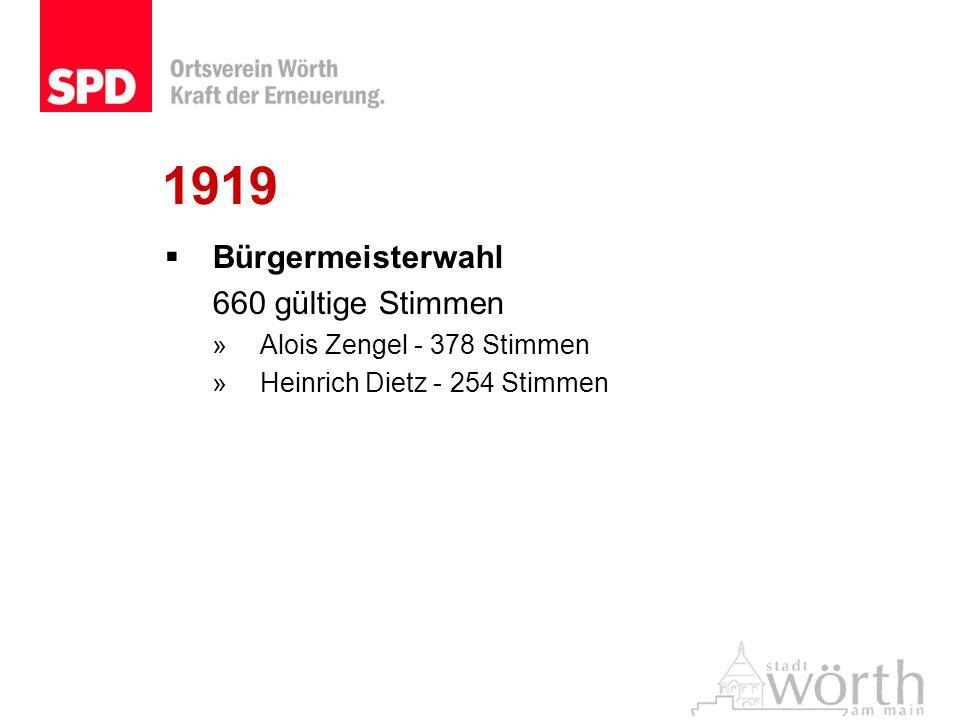 1919 Bürgermeisterwahl 660 gültige Stimmen »Alois Zengel - 378 Stimmen »Heinrich Dietz - 254 Stimmen