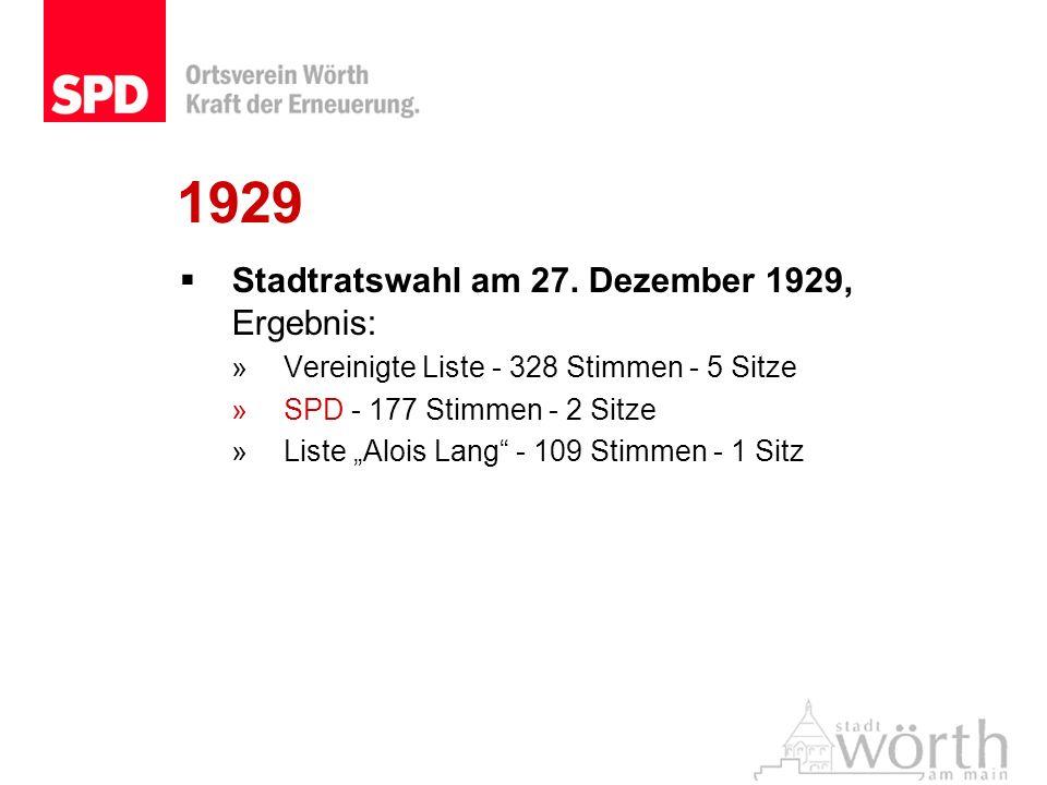 1929 Stadtratswahl am 27. Dezember 1929, Ergebnis: »Vereinigte Liste - 328 Stimmen - 5 Sitze »SPD - 177 Stimmen - 2 Sitze »Liste Alois Lang - 109 Stim
