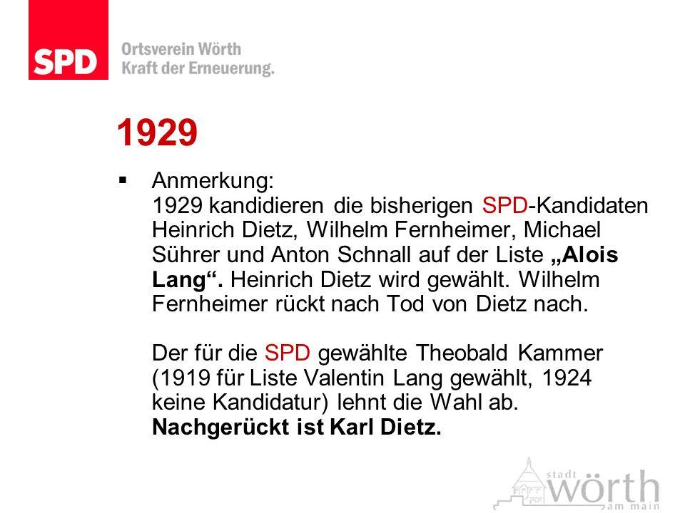 1929 Anmerkung: 1929 kandidieren die bisherigen SPD-Kandidaten Heinrich Dietz, Wilhelm Fernheimer, Michael Sührer und Anton Schnall auf der Liste Aloi