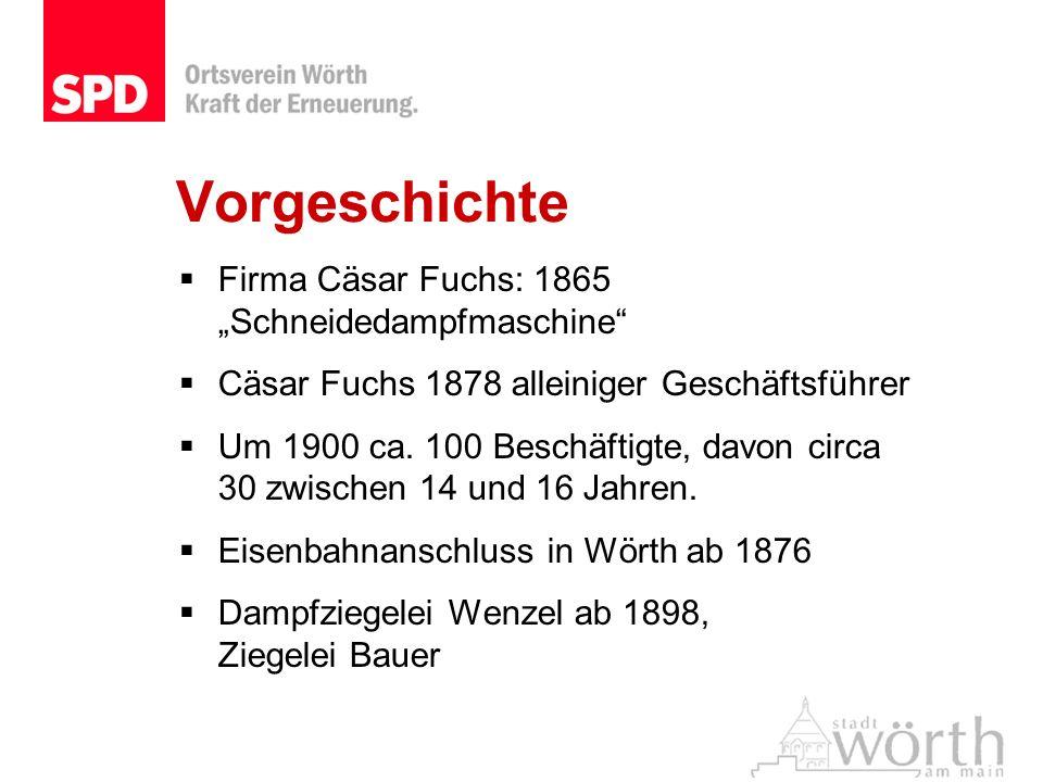 Vorgeschichte Firma Cäsar Fuchs: 1865 Schneidedampfmaschine Cäsar Fuchs 1878 alleiniger Geschäftsführer Um 1900 ca. 100 Beschäftigte, davon circa 30 z