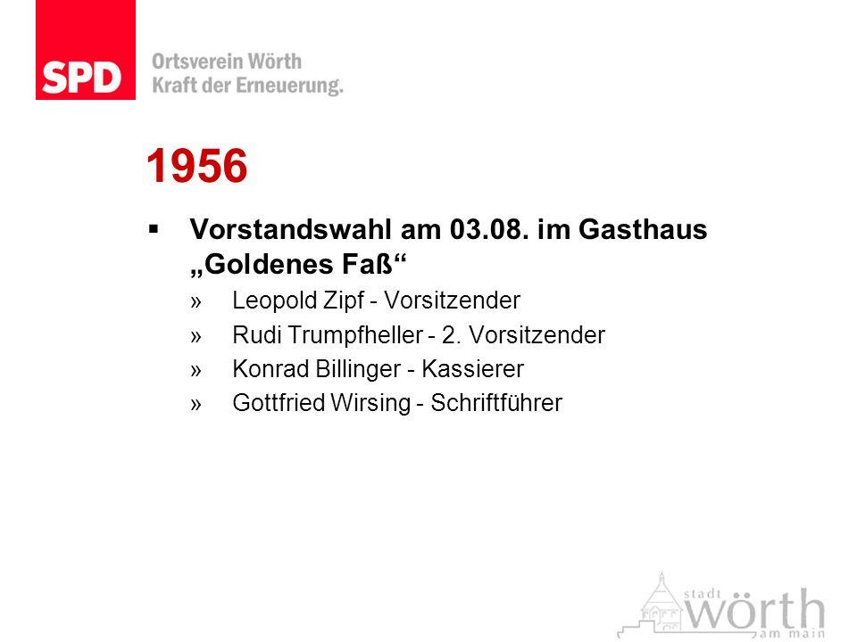 1956 Vorstandswahl am 03.08. im Gasthaus Goldenes Faß »Leopold Zipf - Vorsitzender »Rudi Trumpfheller - 2. Vorsitzender »Konrad Billinger - Kassierer