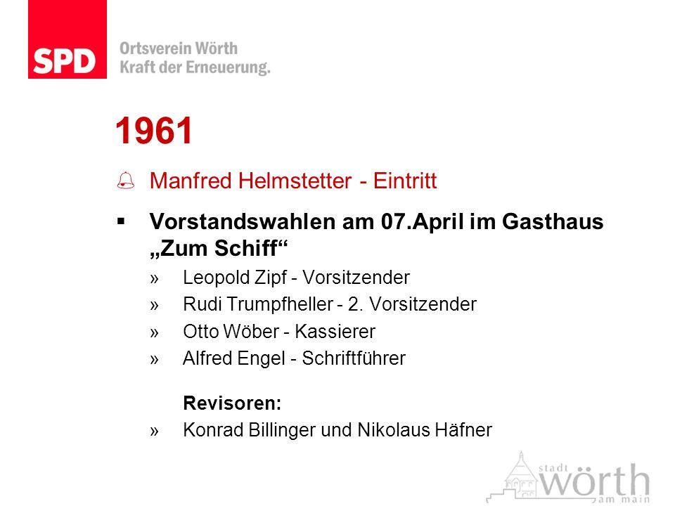 1961 Manfred Helmstetter - Eintritt Vorstandswahlen am 07.April im Gasthaus Zum Schiff »Leopold Zipf - Vorsitzender »Rudi Trumpfheller - 2. Vorsitzend