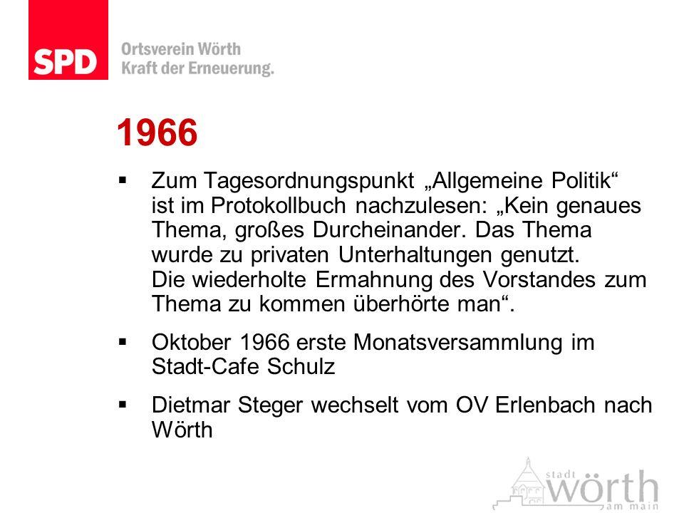 1966 Zum Tagesordnungspunkt Allgemeine Politik ist im Protokollbuch nachzulesen: Kein genaues Thema, großes Durcheinander. Das Thema wurde zu privaten