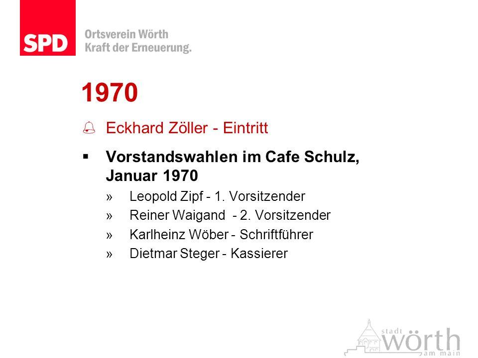 1970 Eckhard Zöller - Eintritt Vorstandswahlen im Cafe Schulz, Januar 1970 »Leopold Zipf - 1. Vorsitzender »Reiner Waigand - 2. Vorsitzender »Karlhein