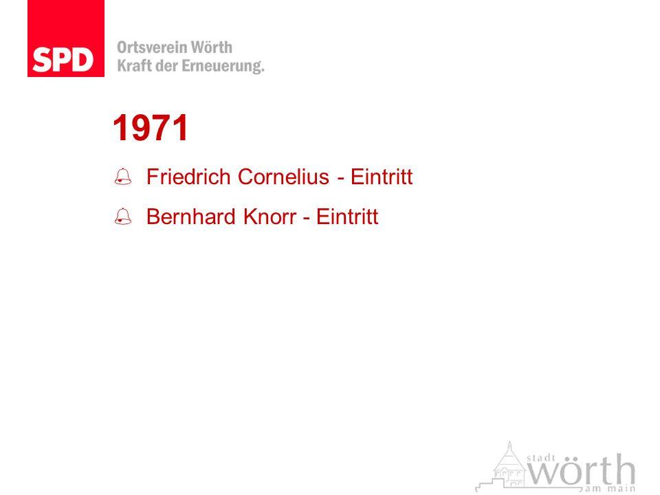1971 Friedrich Cornelius - Eintritt Bernhard Knorr - Eintritt
