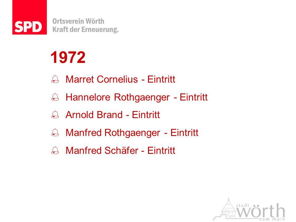 1972 Marret Cornelius - Eintritt Hannelore Rothgaenger - Eintritt Arnold Brand - Eintritt Manfred Rothgaenger - Eintritt Manfred Schäfer - Eintritt