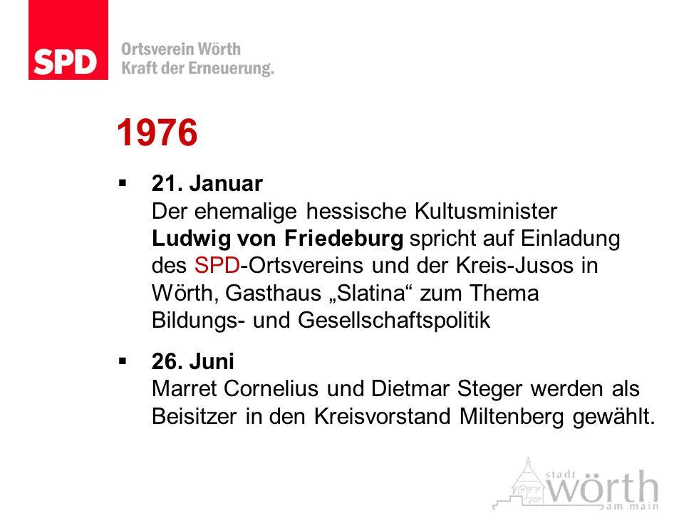 1976 21. Januar Der ehemalige hessische Kultusminister Ludwig von Friedeburg spricht auf Einladung des SPD-Ortsvereins und der Kreis-Jusos in Wörth, G