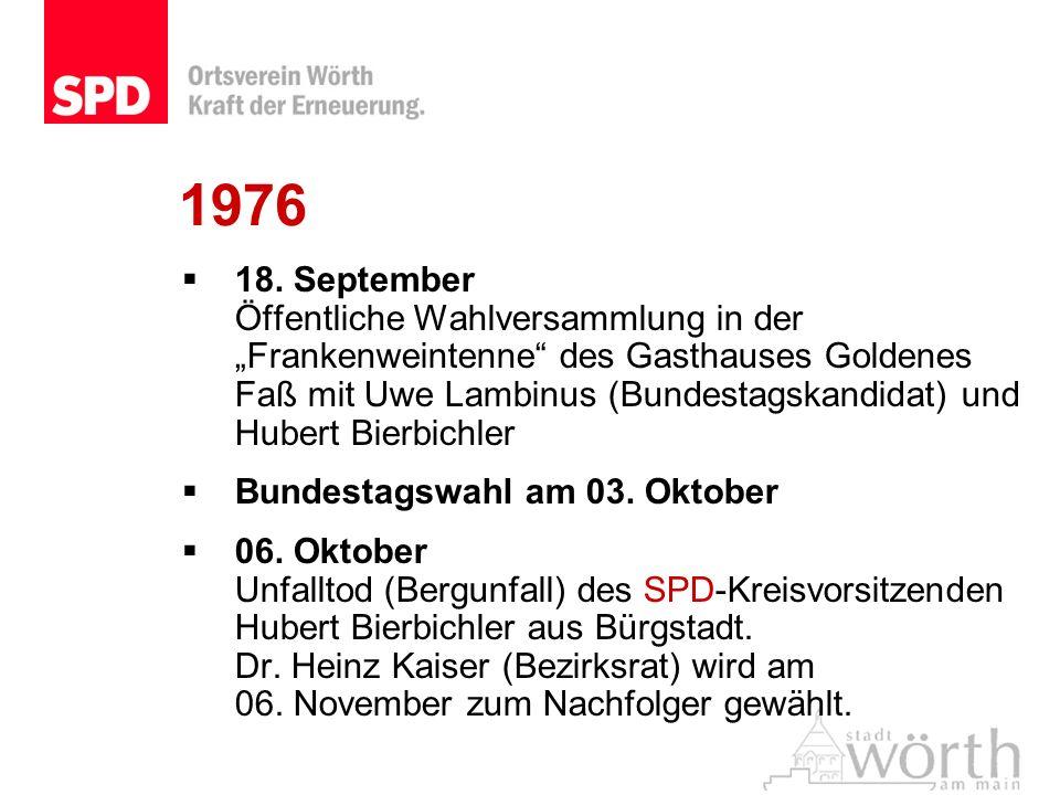 1976 18. September Öffentliche Wahlversammlung in der Frankenweintenne des Gasthauses Goldenes Faß mit Uwe Lambinus (Bundestagskandidat) und Hubert Bi