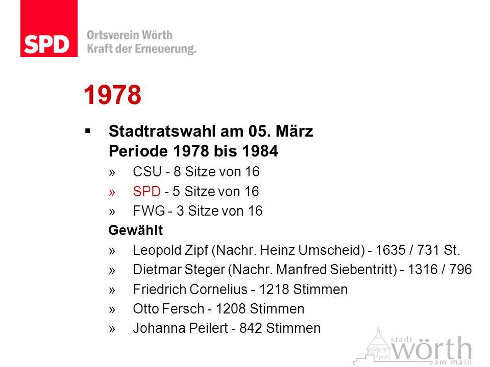 1978 Stadtratswahl am 05. März Periode 1978 bis 1984 »CSU - 8 Sitze von 16 »SPD - 5 Sitze von 16 »FWG - 3 Sitze von 16 Gewählt »Leopold Zipf (Nachr. H
