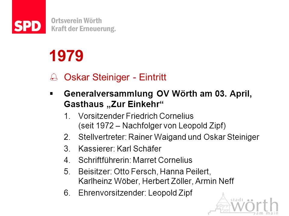 1979 Oskar Steiniger - Eintritt Generalversammlung OV Wörth am 03. April, Gasthaus Zur Einkehr 1.Vorsitzender Friedrich Cornelius (seit 1972 – Nachfol