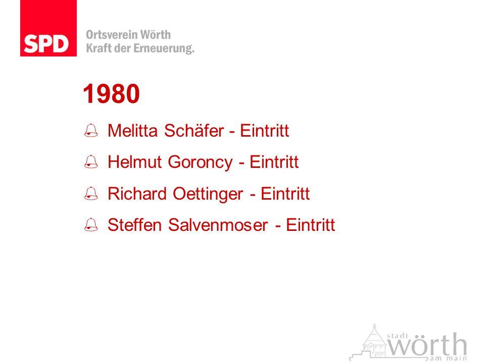1980 Melitta Schäfer - Eintritt Helmut Goroncy - Eintritt Richard Oettinger - Eintritt Steffen Salvenmoser - Eintritt