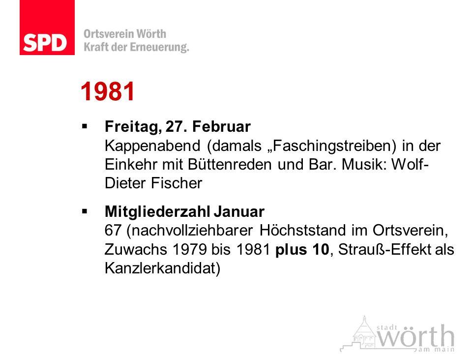 1981 Freitag, 27. Februar Kappenabend (damals Faschingstreiben) in der Einkehr mit Büttenreden und Bar. Musik: Wolf- Dieter Fischer Mitgliederzahl Jan