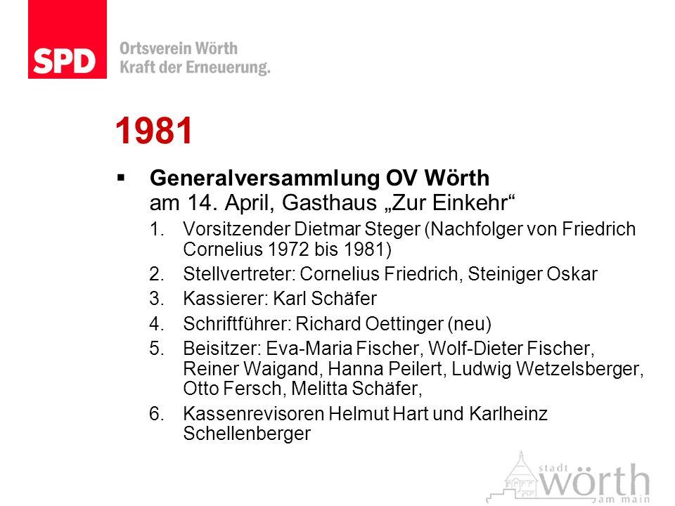 1981 Generalversammlung OV Wörth am 14. April, Gasthaus Zur Einkehr 1.Vorsitzender Dietmar Steger (Nachfolger von Friedrich Cornelius 1972 bis 1981) 2