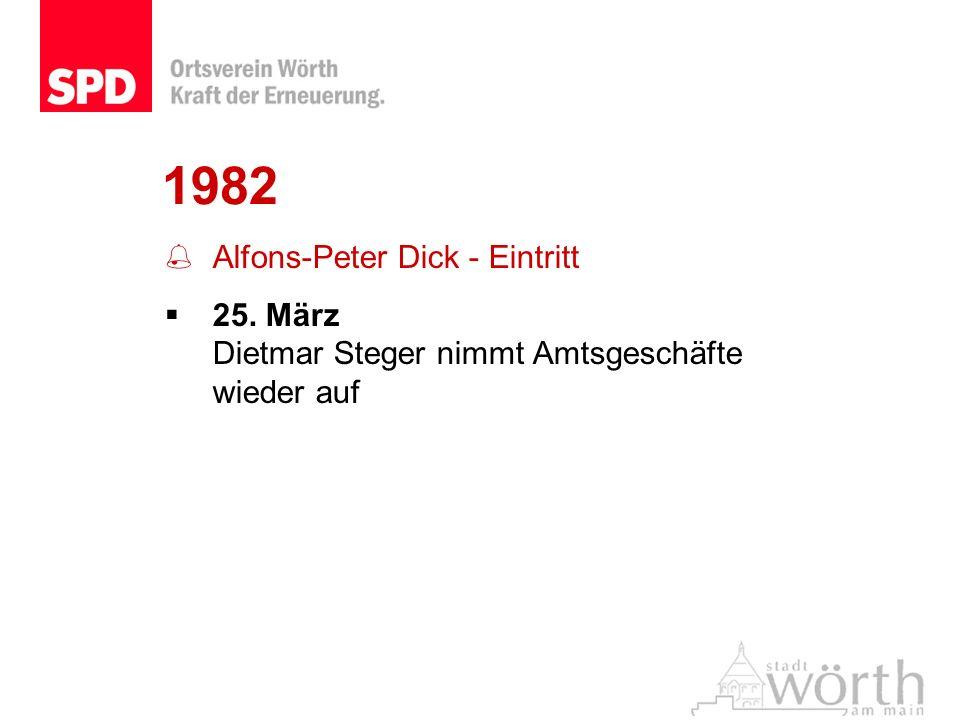 1982 Alfons-Peter Dick - Eintritt 25. März Dietmar Steger nimmt Amtsgeschäfte wieder auf