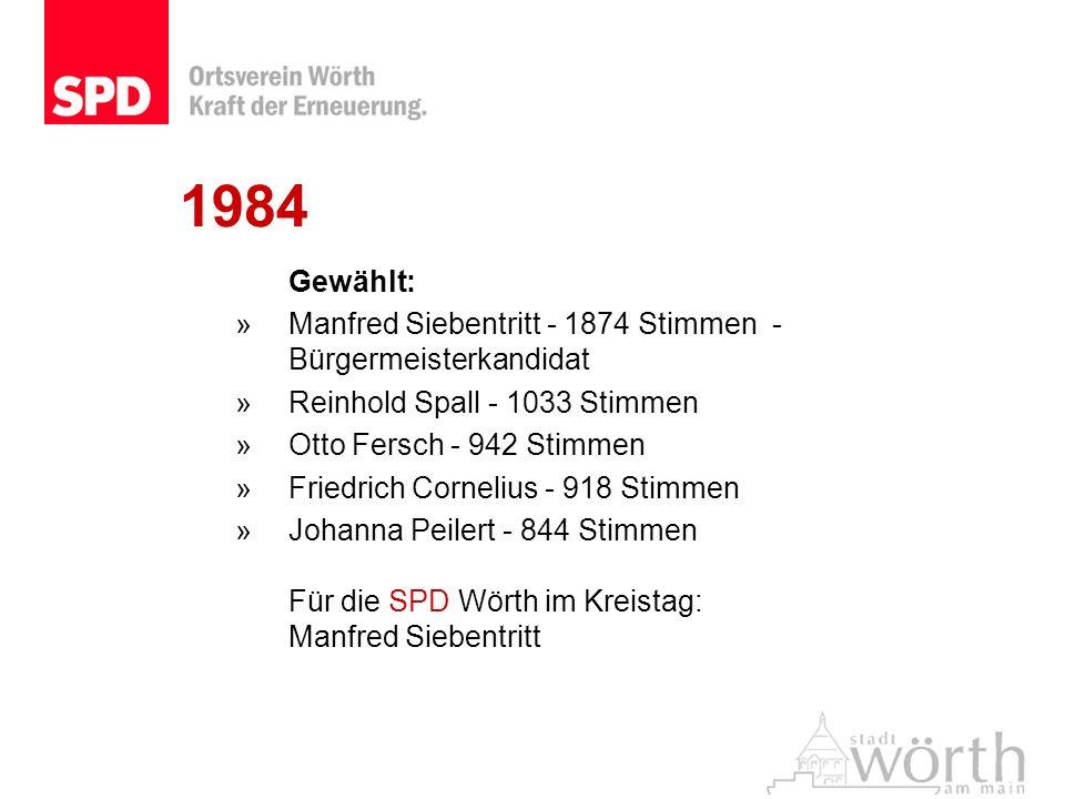 1984 Gewählt: »Manfred Siebentritt - 1874 Stimmen - Bürgermeisterkandidat »Reinhold Spall - 1033 Stimmen »Otto Fersch - 942 Stimmen »Friedrich Corneli
